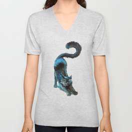 Black Blue Cat Stretching Drawing  Unisex V-Neck
