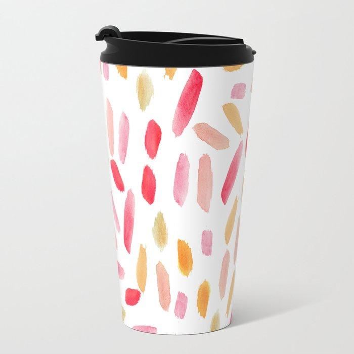 Artistic modern blush pink orange watercolor brushstrokes Travel Mug
