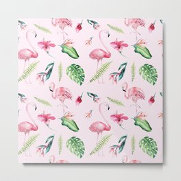 Blush pink green watercolor monster leaves flamingos pattern Metal Print