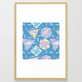 Nineties Dinosaurs Pattern  - Pastel version Framed Art Print