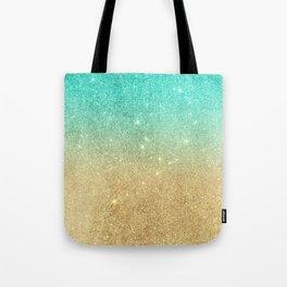 Aqua teal abstract gold ombre glitter Tote Bag