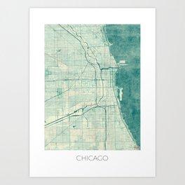 Chicago Map Blue Vintage Art Print