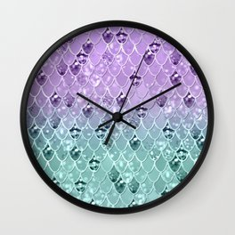 Mermaid Princess Glitter Scales #3 #shiny #pastel #decor #art #society6 Wall Clock
