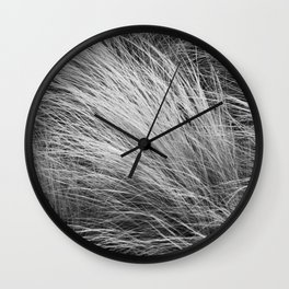 Grass Texture In Black And White Wall Clock