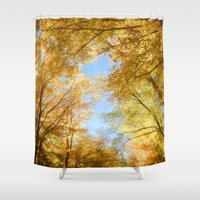 rush Shower Curtains featuring Gold Rush by Kim Bajorek