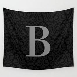 Modern Black Grey Damask Letter B Monogram Wall Tapestry