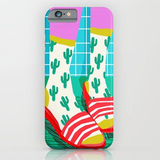 Sliders - memphis throwback retro neon 1980s 80s style pop art shoe fashion grid pattern socks iPhone & iPod Case