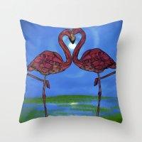 flamingos Throw Pillows featuring Flamingos by Ben Geiger