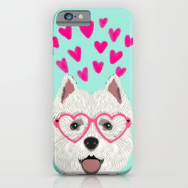 Westie west highland terrier white valentines day dog lover pet valentine iPhone Case
