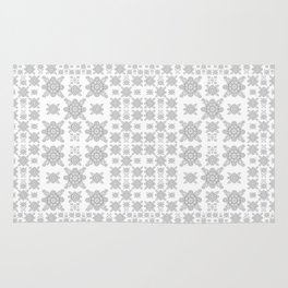Simple Elegant Black and White Fractal Square Mandala Rug