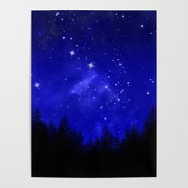 Blue Galaxy Forest Night Sky Poster