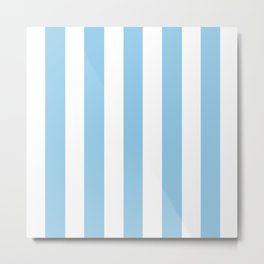 Light cornflower blue - solid color - white vertical lines pattern Metal Print