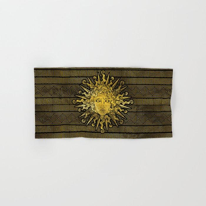 Apollo Sun Symbol On Greek Key Pattern Hand Bath Towel By