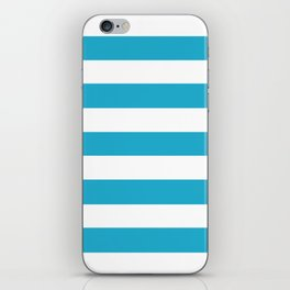Ball blue - solid color - white stripes pattern iPhone Skin