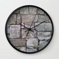 medieval Wall Clocks featuring MEDIEVAL FLOOR by Melania Emma