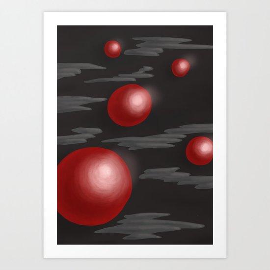 Shiny Red Planets Art Print