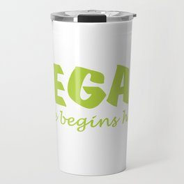 Vegan life begins here green letters Travel Mug