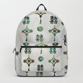 Gold and Abalone Shell Lucky Chinese Symbols  Pattern Backpack