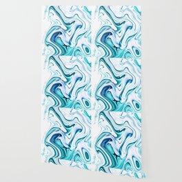 Liquid Marble - aqua & blues Wallpaper