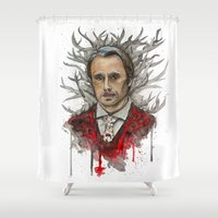 hannibal Shower Curtains featuring Shika (Hannibal) by Studio of M.M