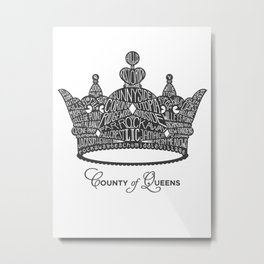County of Queens | NYC Borough Crown (GREY) Metal Print