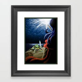 Pixel Art series 2 : Fight on the cliff Framed Art Print