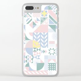 Retro Contemporary Geometrical Pattern Clear iPhone Case