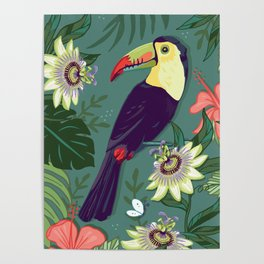 Toucan and Passion Flowers Poster