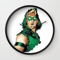 green arrow Wall Clocks featuring Green Arrow by Andrew Markovits