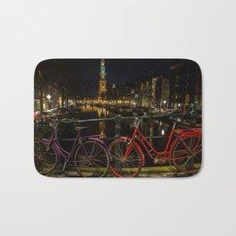 Amsterdam Bikes and Canal at Night Bath Mat