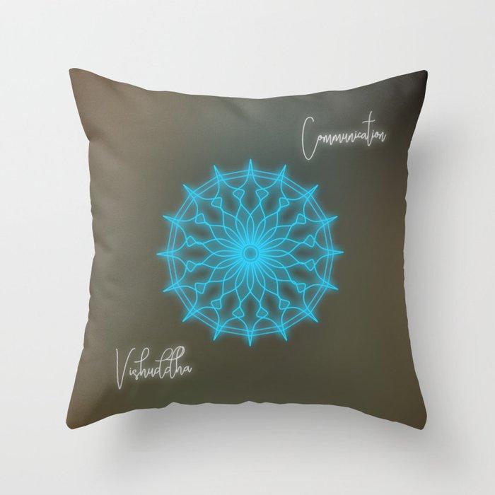 Throat chakra glowing mandala, chakra balancing Throw Pillow
