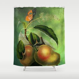 Bombay Mangos with Butterfly, Vintage Botanical Illustration Collage Art Shower Curtain