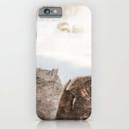 Tree Trunk In Winter Photo | Snow Photography | Snow On Tree Trunk With Backlight iPhone Case