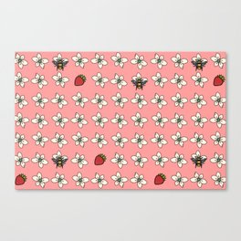 Precious Bee Pattern Pink Canvas Print