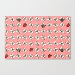 Precious Bee Pattern Pink Canvas Print