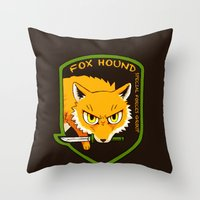 metal gear Throw Pillows featuring Metal Gear Solid - Chibi Foxhound by feriowind