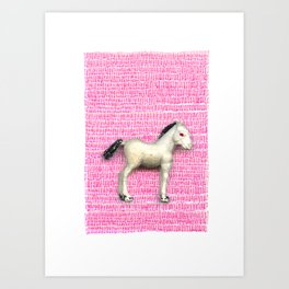 My little foal in a sea of pink Art Print