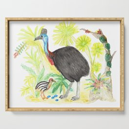 Cassowary Illustration Serving Tray