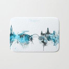 Glasgow Monochrome Blue Skyline Bath Mat