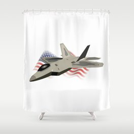 F22 Raptor with the American National Flag Shower Curtain