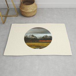 Iceland Landscape Grass Orange Sand & Grey Mountains Round Frame Photo Rug
