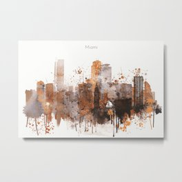 Brown Miami watercolor skyline design Metal Print