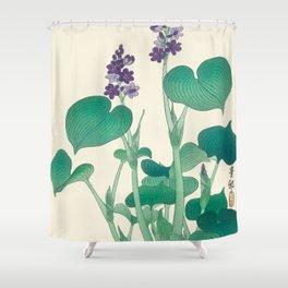 Blooming Purple Hostas - Japanese vintage woodblock print Shower Curtain
