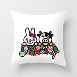 we love sweet candy Throw Pillow