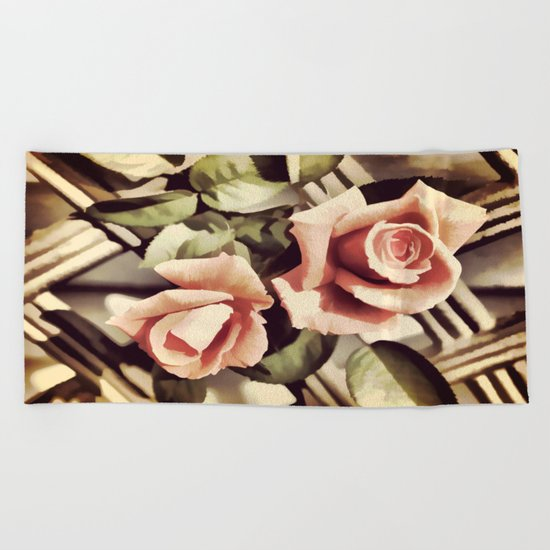Vintage Rose Garden - Painterly Beach Towel