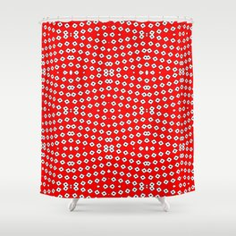 Red Background, White Diamond and Black Spots 2 Shower Curtain