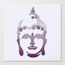 Buddha Head violet - grey Canvas Print
