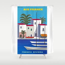 1960 French Riviera Air France Travel Poster Shower Curtain