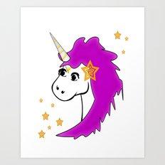 Unicorn and Stars 2 Art Print