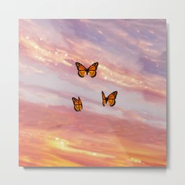 Butterfly Sunset Aesthetic Metal Print